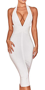 Whoinshop Women's Backless Halter V Plunge Celebrity Night Club Party Bandage Bodycon Midi Dress