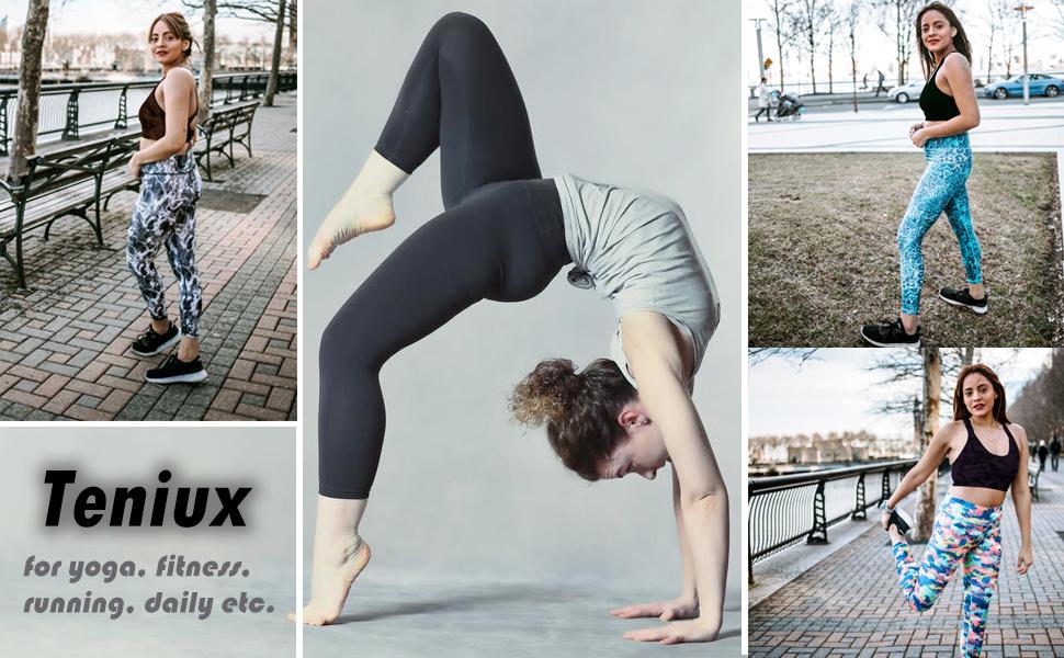 Teniux High Waisted Leggings, Ankle-Length Yoga Pants for Women Workout Running 4 Way Stretch Yoga Leggings …