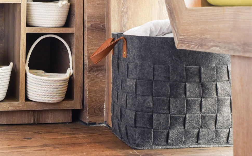 This is a soft and large felt storage basket with handles. Free from any chemicals Safety and Environmentally & Amazon.com : LoongBaby Felt Storage Baskets With Handles Soft ...