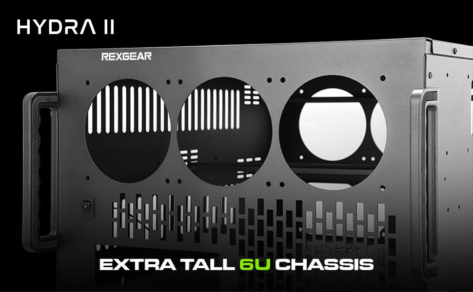 Hydra II Rev  B 8 GPU 6U Case for Learning/Mining/Rendering Servers, Dual  PSU Ready