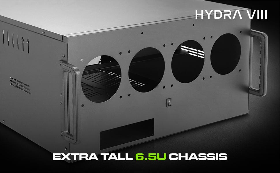 Hydra VIII Modular 6 5U Case for 10 GPU Mining Rendering AI Servers, Triple  PSU Ready