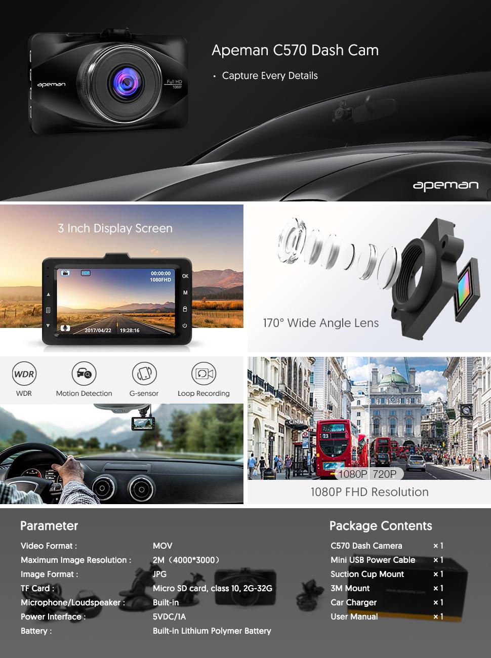 apeman 1080p dash cam 3 inch lcd screen. Black Bedroom Furniture Sets. Home Design Ideas