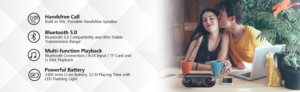 portable Bluetooth speaker  ZoeeTree S8 Bluetooth Speakers V5.0, Speakers Bluetooth Wireless with 10W HD Sound and Rich Bass, LED Flashing Light, 12H Playtime, Built-in Mic, Portable Speaker Works with Alexa bd39fd78 b464 483d b393 6405ac291d95