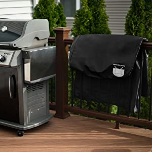 our barbeque cover is made to withstand the elements with a heavy duty backing that will keep rain and snow off your grill