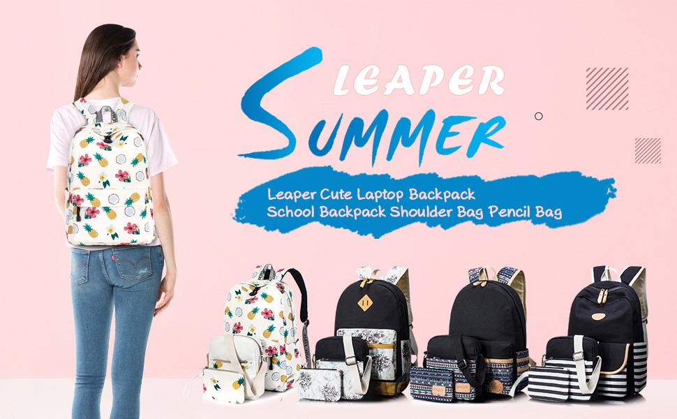 2966f2f438b2 Amazon.com  Leaper Cute Pineapple Pattern School Backpack Shoulder ...