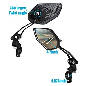 2x Bicycle Mirror Length 290 mm Ø 100 mm Black Left or Right with reflekor