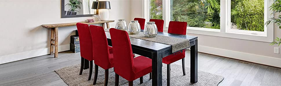 Dining Room Chair Home Decor with Colorxy Velvet Spandex Fabric Stretch Chair Slipcovers