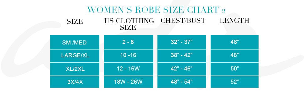 Womens Robe Size Chart 2