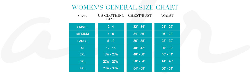 Womens General Size Chart