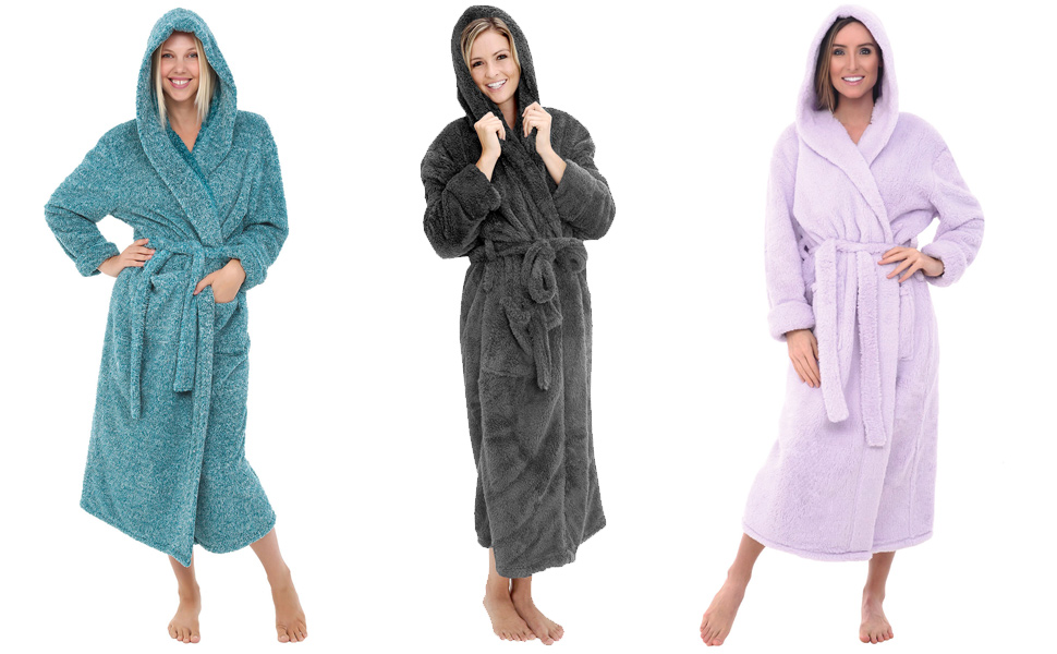 Alexander Del Rossa Women S Plush Fleece Robe With Hood