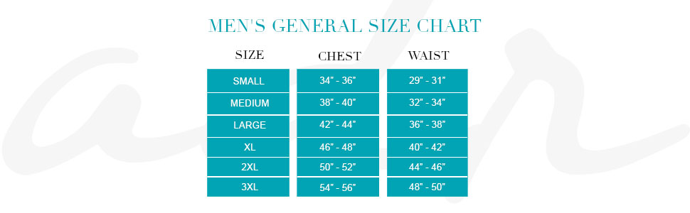 Mens General Size Chart