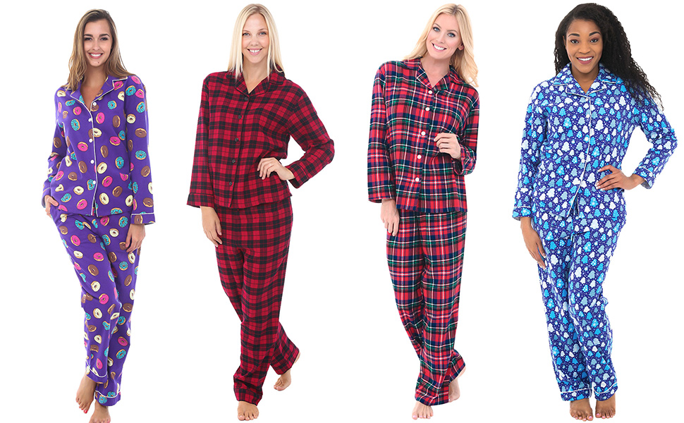 38c7767f60 Alexander Del Rossa Womens Flannel Pajamas with Piping, Long Cotton ...