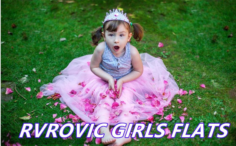 RVROVIC Girls Mary Jane Flats Sparkle Princess Wedding Party Dress Shoes Low Heel Ballerina Shoes