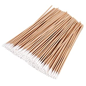200 Pcs Long Wooden Cotton Swabs Cleaning Sterile Sticks With Wood Handle For Oil Makeup Gun
