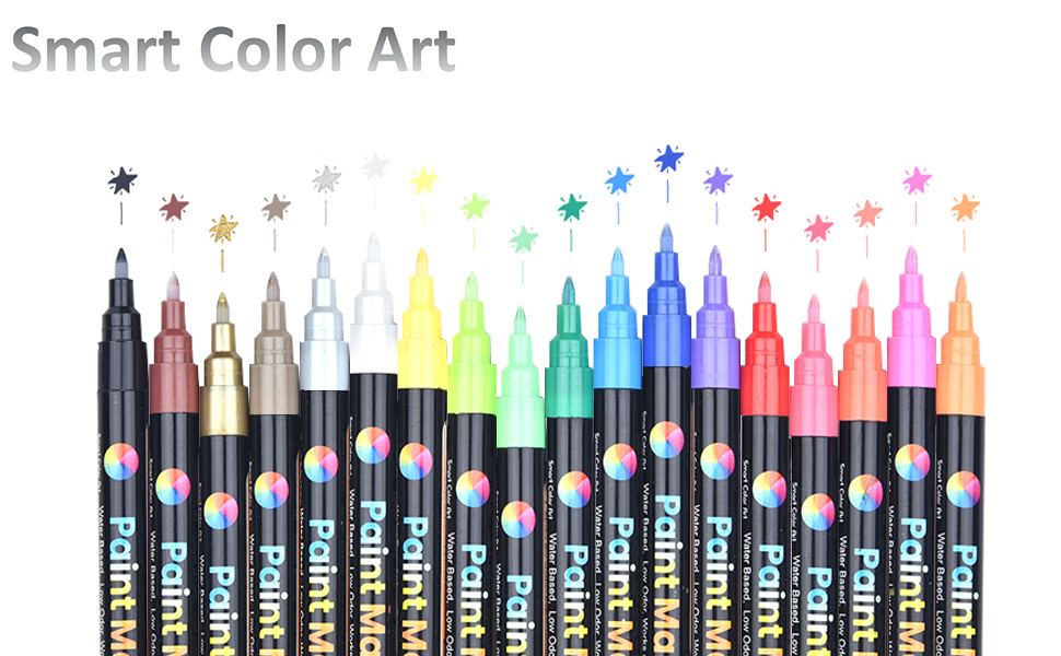 Fabric Ceramic Glass Permanent Water Based Paint Pens 26 Colors Extra Fine Point Acrylic Paint Markers Diy Crafts And Most Surfaces By Smart Color Art Wood Metal Great For Rock Art Supplies