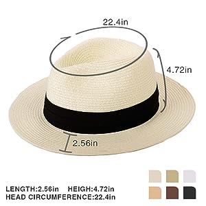 6bbfb803514d31 Panama Straw Hat, Womens Sun Hats Summer Wide Brim Floppy Fedora ...