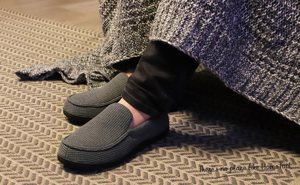 bb34592c1c226 HomeTop Men's Comfort Memory Foam Moccasin Slippers Breathable Cotton Knit  House Shoes w/Anti-Skid Rubber Sole