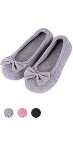 Women's Comfy Cotton Knit Stretchable Memory Foam Ballerina Slippers Terry Cloth House Shoes