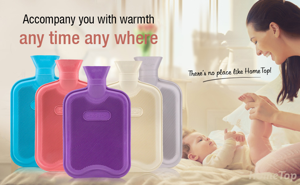 HomeTop Premium Classic Rubber Hot Water Bottle, Great for Pain Relief, Hot and Cold Therapy