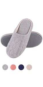 Women's Comfort Quilted Cotton Memory Foam Slipper Non Slip House Shoes w/Elegant Embroidery