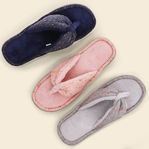 b116be9ab7a51e Womens Soft Comfy Knitted Plush Fleece Lining Memory Foam Spa Thong Flip  Flops House Slippers