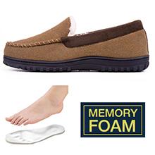 Men's Wool Micro Suede Moccasin Slippers House Shoes Indoor / Outdoor