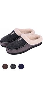 Men's Cozy Memory Foam Micro Woolen Plush Fleece Slippers Slip On Clog House Shoes