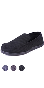 HomeTop Men's Comfort Memory Foam Moccasin Slippers Breathable Cotton Knit House Shoes