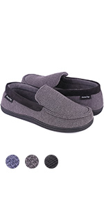 Men's Comfort Memory Foam Moccasin Slippers Breathable Cotton Knit Terry Cloth House Shoes