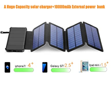 Solar Phone Charger 10.000mAh Power Bank-Portable Smartphone & iPhone Battery + Emergency Flashlight–(2) USB Ports+(4) Foldable Solar Panels-Fast ...