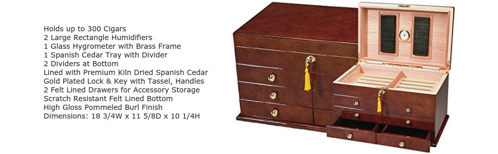 cigar humidor ravello large tobacco leaf accessory box storage smoking humidification stogie case