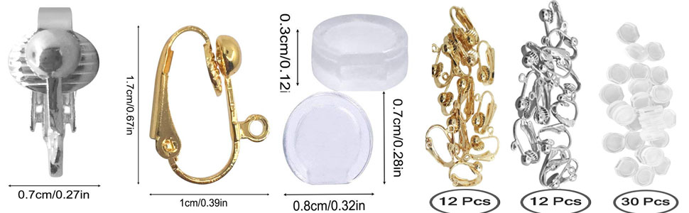 SENHAI 12 Pairs Silver /& Gold Plated DIY Earring Jewelry Making Findings with Easy Open Loop 24 Pcs Earring Converter Clip-on /& 30 Pcs Silicone Earring Pads Gold /& Silver Color