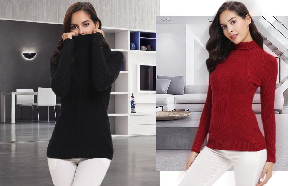 Abollria Women s Long Sleeve Solid Lightweight Soft Knit Mock Turtleneck  Sweater Tops Pullover. tops 31a08141e