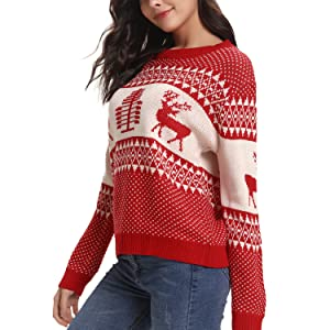 c14faac591 Womens Christmas Reindeer Xmas Tree Long Sleeve Chunky Cable Knitted Jumper  Knitwear Pullover Sweater