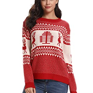 dc3f9d1ed1 Womens Christmas Reindeer Xmas Tree Long Sleeve Chunky Cable Knitted Jumper  Knitwear Pullover Sweater. tops. tops. tops
