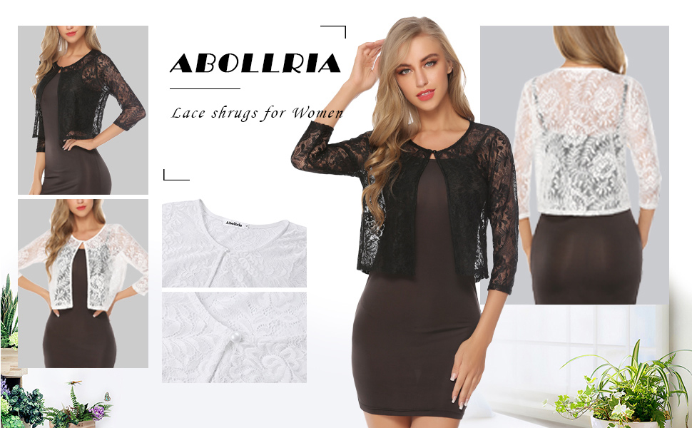 64afa5dd982 Abollria Women s Lace Bolero Shrug Long Sleeve See Through Wedding Cardigan  Jacket