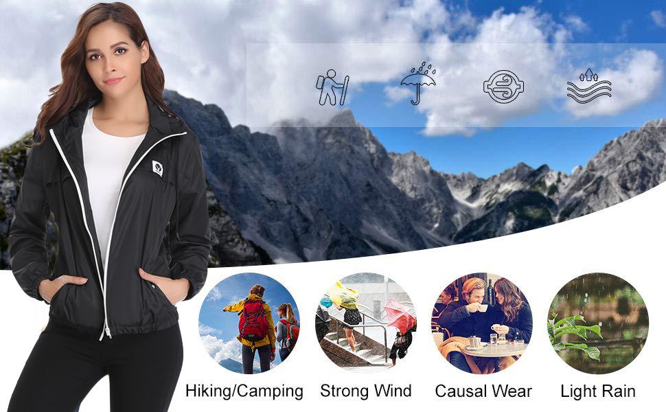 da6d03e92a Amazon.com  Abollria Raincoats Waterproof Lightweight Rain Jacket ...