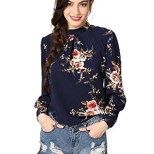 ea2e9e3301c Abollria Women s Flower Print Long Sleeve Stand Collar Casual ...