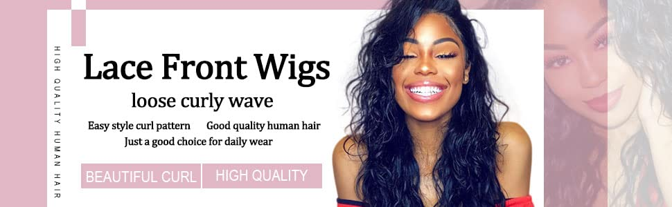 lace front wigs loose curl body natural wave human hair