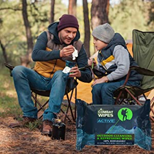 Father and Son camping with Combat Wipes