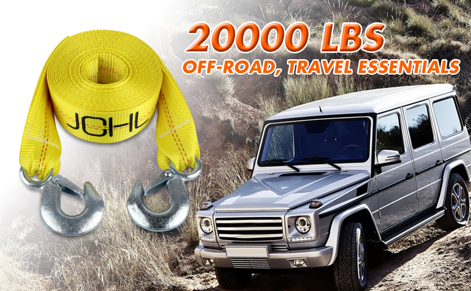 D DOLITY Tow Strap with Hooks Car Vehicle Rope 10,000 lbs Capacity Tow Rope for Car Truck ATV SUV Orange