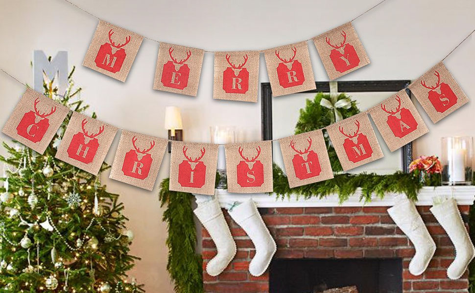 merry christmas burlap banner garlands banner sign hanging flags perfect for christmas party decoration - Merry Christmas Burlap Banner