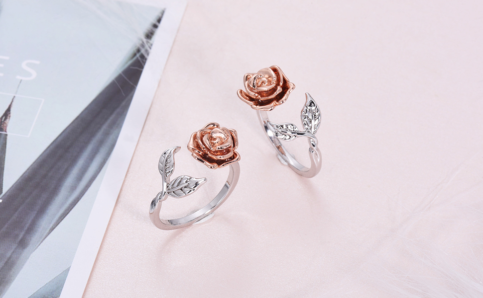 ffa4386419ef Amazon.com  Rose Ring for Woman Flower Leaf Ring Adjustable Rings ...