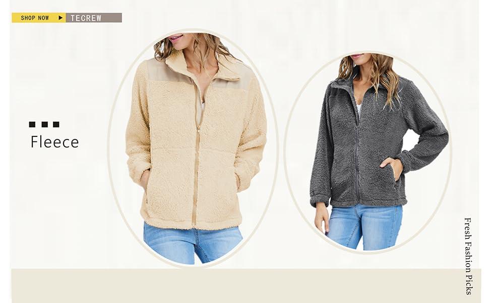 d2feb1b3c TECREW Women's Long Sleeve Zipper Fuzzy Fleece Jacket Stand Collar ...
