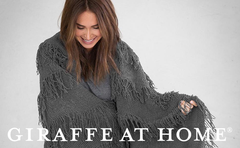 45 x 59 45 x 59 Little Giraffe FYMTTHRFX Giraffe at Home Dolce Matrix Throw Flax
