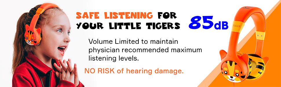 kidrox headphones earphones kids toddlers 3 4 5 years orange tiger