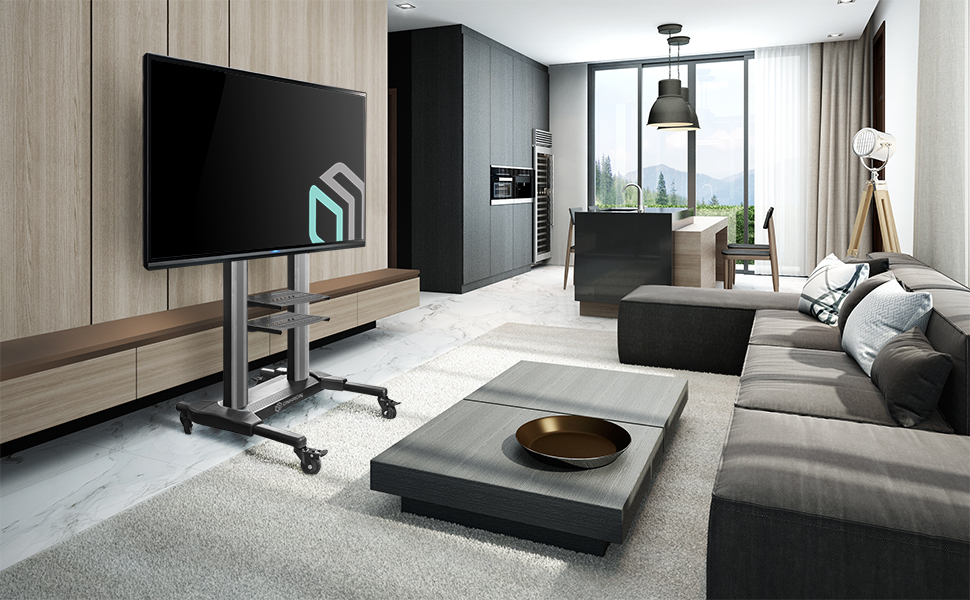 TS2771 mobile tv stand in living room