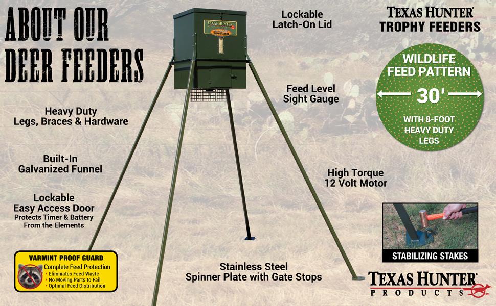 Texas Hunter Wildlife & Deer Feeder w/ 8-Foot Heavy-Duty Extension Legs -  300 lb  Corn Capacity - Model TF300L8