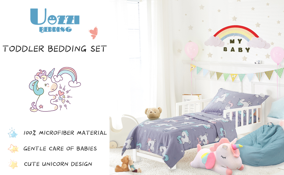 Includes Quilted Comforter Joyreap 4 Pieces Cotton Toddler Bedding Set Fitted Sheet Top Sheet Gray Unicorn with Stars Printed and Pillow Case for Boys n Girls