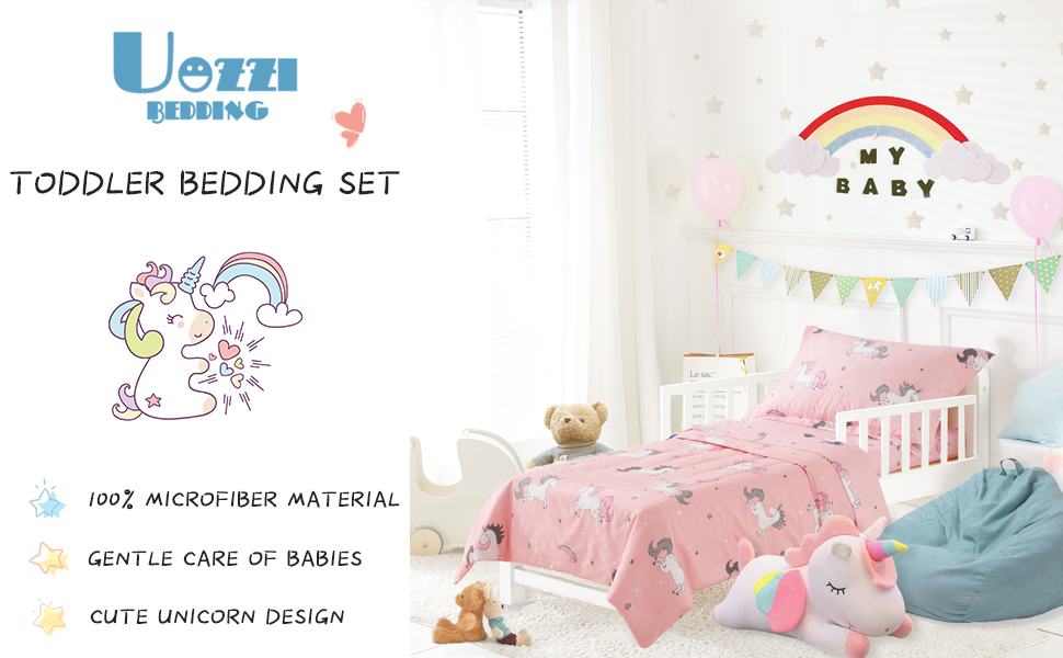 Pink Unicorn Quilt, Fitted Sheet, Flat Sheet, Pillowcases TILLYOU 5 Pieces Unicorn Toddler Bedding Set - Microfiber Printed Nursery Bedding for Girls